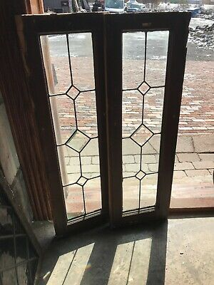 Sg 2924 2 Av Price each antique leaded and beveled glass window 12 x 37