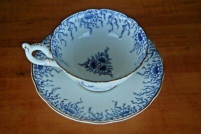 Vintage COALPORT English Tea Cup & Saucer~Blue & White w/Gold Rimmed AD1750~MINT