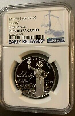 "Proof 2019 NGC-PF69-UC-ER ""Liberty"" W 1 oz Platinum American Eagle  $100"