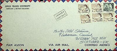 Canada Qe 6 Values On Port Paye Cachet Airmail Cover To Scotland Uk