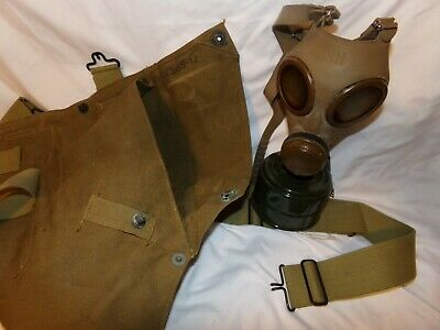 Vintage WWI WWII Military Gas Mask w/ Canvas Carry Bag Replica?