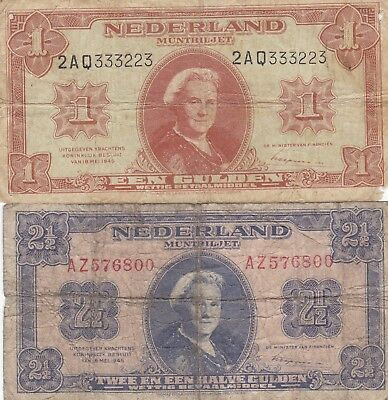 Netherlands Banknotes 1 And 2 1/2 Gulden Queen Wilhelmina May 1945,Circulated