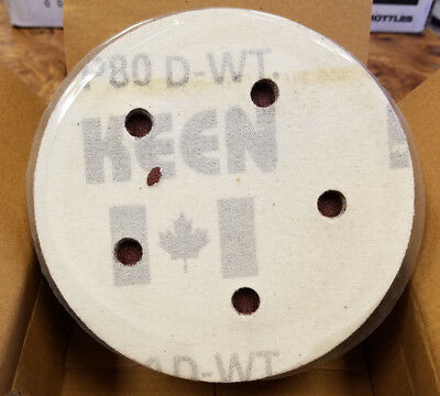 "Keen Abrasives 5/"" 80 Grit 8 Hole Hook /& Loop Sanding Discs 50 Pieces"