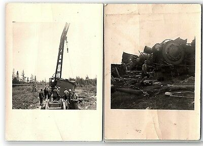 Photos Train Wreck Unidentified Crane Indiana ~ Lot Of 2