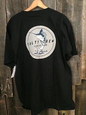 """Salty Crew /""""Chart/"""" and Fishing Rod M Men/'s T-Shirt /""""Find Refuge in the Sea/"""" NWOT"""