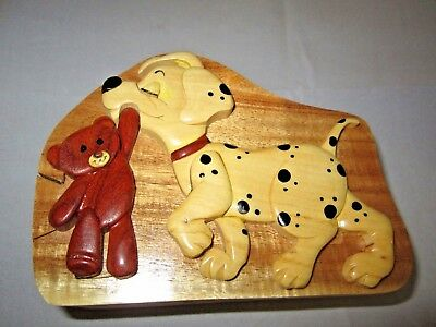 World Design Dalmatian Dog Hand Crafted Carved Wood Puzzle Jewelry / Trinket Box