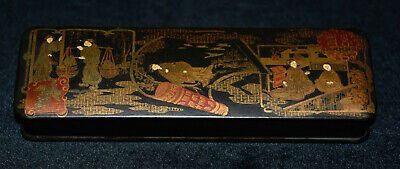 Antique 19th Century Chinese Asian Wooden Hand Painted Lacquered Caligraphy Box
