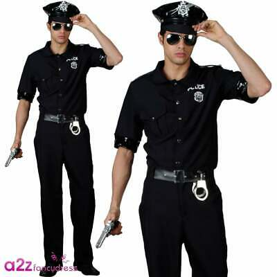 Mens USA American New York Cop Costume + Hat Police Officer Uniform Fancy Dress