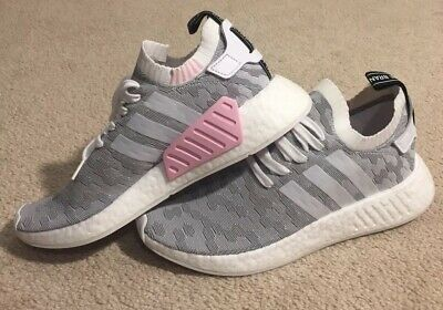 8065e90ec adidas NMD R2 Primeknit PK Running Shoes Gray White Pink BY9520 NEW Women s  10