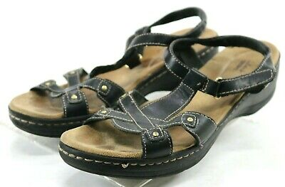 eb9fe1f23dd Clarks Collection Women s  90 Slingback Casual Sandals Size 9.5 Leather  Black