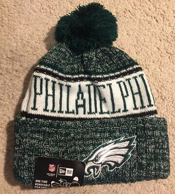4adb22ebda2eb Philadelphia Eagles NFL Football Pom Beanie Winter Hat Green New Era NEW  Onesize