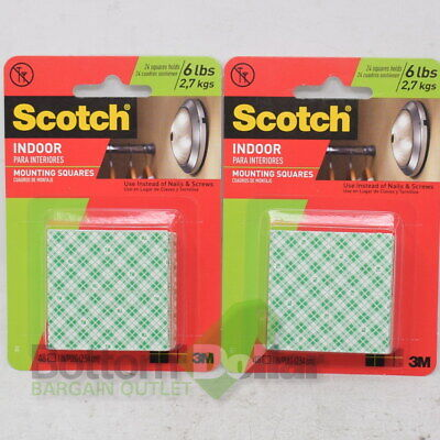 3M 311P Scotch Indoor Permanent Mounting Double-Sided Squares Tape (2 Packs)