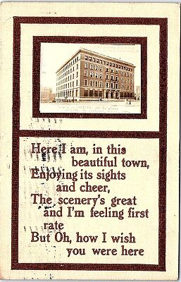 Postcard NE Omaha Y.M.C.A. Building ~ Here I Am In This Beautiful Town 1912 N276