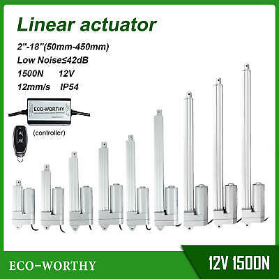 "1500N Linear Actuator 12mm/s 2""-18"" Electric Motor Remote Controller Kit"