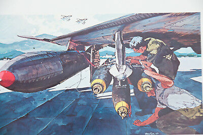 """US Air Force Bomb ART jet fighter 17x23"""" lithograph pilot missile soldier PRINT"""