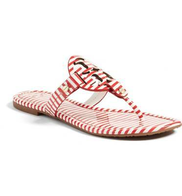 efabf0a08 Tory Burch Miller Nantucket Red  White Patent Leather Thong Sandal Women 6.5  New