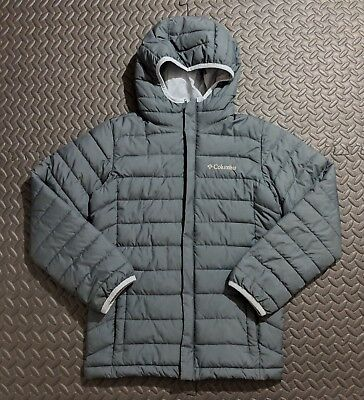 Columbia Kid's Grey Hoodie Puffer Jacket sz MED Parka Coat Cold Weather Gear