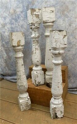 4 Balusters White Wood Architectural Salvage Spindles Porch Post House Trim T