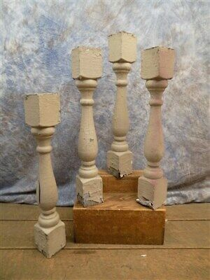 4 Chunky Wood Balusters, Wood Spindles Decor, Architectural Salvage Decor j