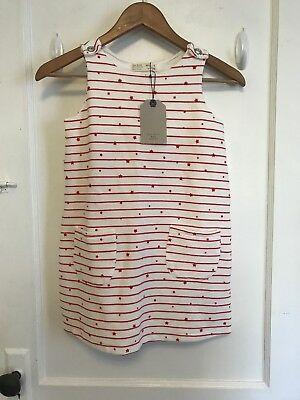 Zara Girl's NWT White Red Stripe Stars Shift Dress Pockets size 8