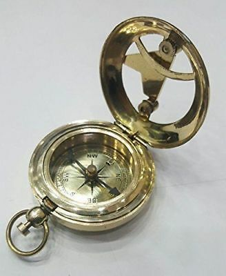 New Brass Vintage Camping Hiking Pocket Compass Push Button Pocket Sundial