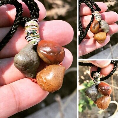 Antique قلاده خرز عقيق روحانيSpiritual 19AD Kharas 3 Agate stone amulets Pendant
