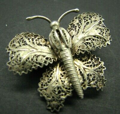 Antique VINTAGE 800 SILVER Filigree Butterfly CANNETILLE STYLE Brooch Pin 3-D
