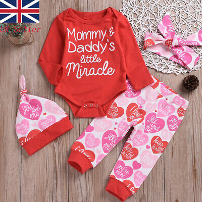 UK 4Pcs Newborn Baby Girls Cotton Tops Romper Bodysuit Pants Outfits Set Clothes