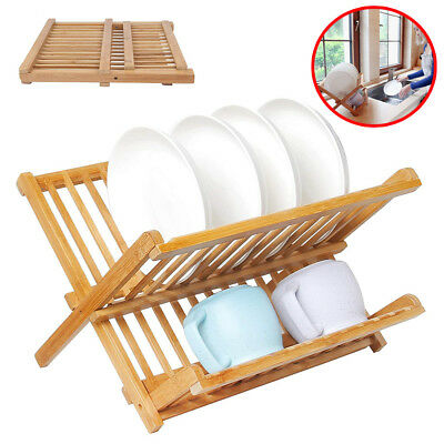 Bamboo Dish Drying Rack Wood Sink With Utensil Holder Folding Strainer Kitchen