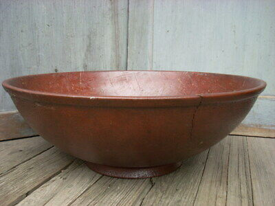 "Antique 1885 United Indurated Fibre Co Bread Bowl Large 18.5"" -RARE-"