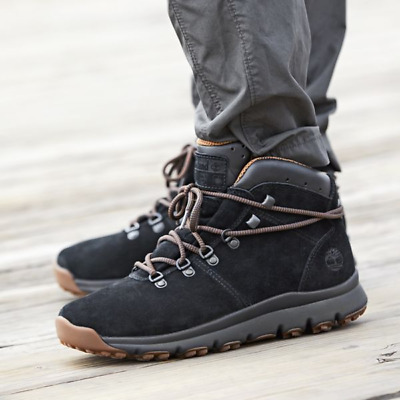 TIMBERLAND MEN'S WORLD Hiker Mid Boots (Size 9) Black Suede
