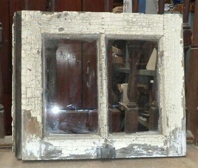 Old Wood Window Frame 2 Glass Panes Rustic Shabby Chic Cottage 25.25 x 21.24 w