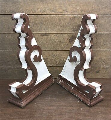 Pair Antique Vintage Victorian Wood Corbels Shelf Brackets, Salvage Gingerbread