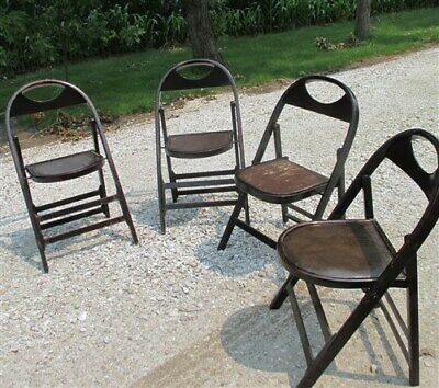 Set of 4 Wood Folding Chairs Church Funeral Home Wedding Concert Patio Picnic a3