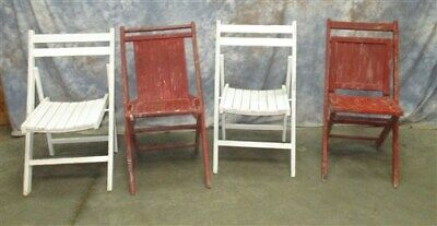 Set of 4 Wood Folding Chairs Church Funeral Wedding Concert Patio Picnic a24