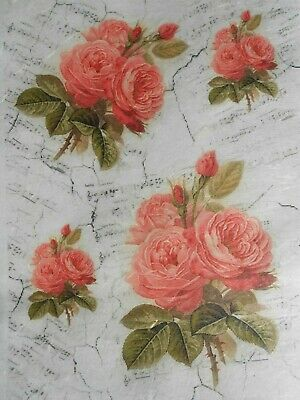 Rice Paper for Decoupage Light Red Roses Music Notes background SL