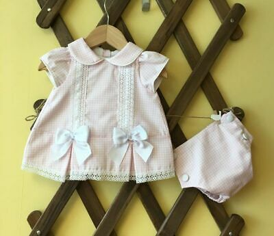 PRETTY ORIGINALS Pink checked dress set with knickers and headband 3 months (16)