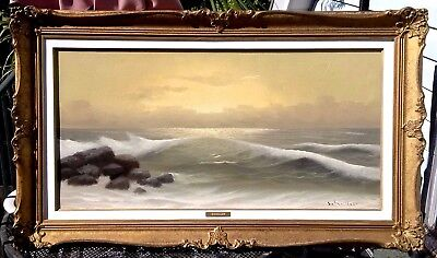 Stunning Style Of Guido Odierna Crashing Waves Seascape Sunset Oil Painting!