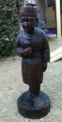 "Antique ~ Chinese ~  Hand Carved ~ Statue of a Man ~ 2 ft 7"" Tall"