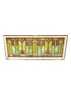 Prairie School Style Richly Colored Residential Stained Glass Transom Window