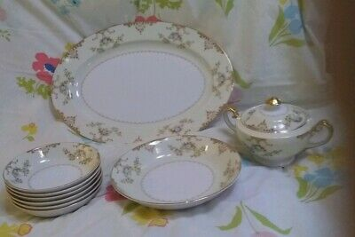 10 Piece Lot ~ Mieto Hand Painted Place and Serving Pieces ~ Gold w/Floral