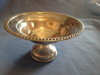 """Vintage Art S Co Silver Plated Serving Dish With Braided Edge - Measures 7"""" Wide"""