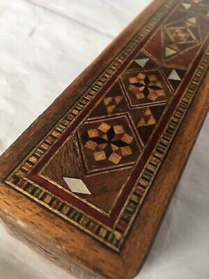 "Vintage Persian Islamic PENCIL CASE PEN BOX inlay decoration ,8"" long wooden box"