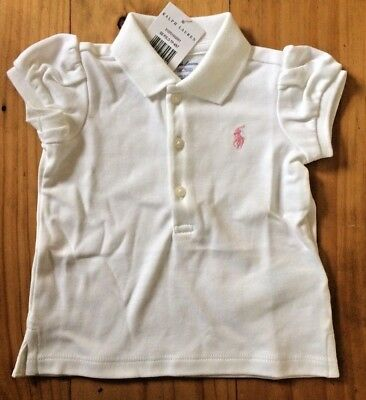 Ralph Lauren Baby Girl Polo T Shirt Top 9 Months New With Tags BNWT White Gift