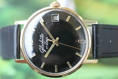 Vintage Gold-Plated German Mech. Glashutte 17 Jewels Original With Date!