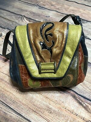 146b307cb343 Sharif Vintage Leather Handbag Patchwork Mixed Texture Leather Retile Made  in US