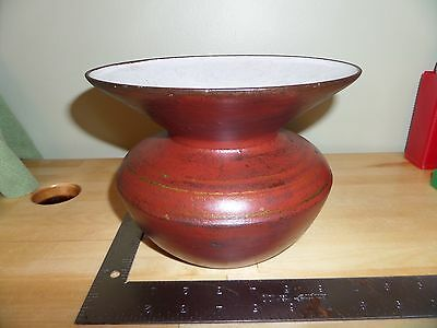 "Cast Iron & White Porcelain Lined Spittoon W"" Original Red & Gold Paint ((#1235)"
