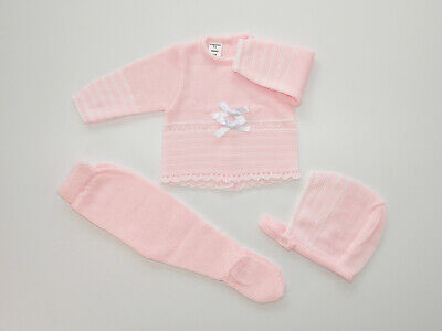 Baby Knit Set Pink & White. Made in Spain.