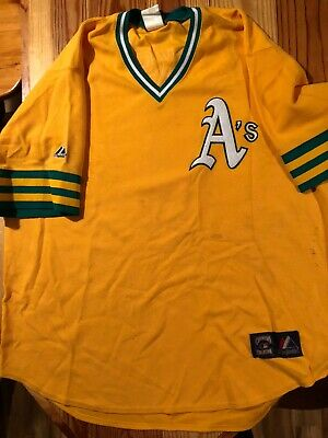 a1545f0ac51 Oakland A s MLB Mens Cool Base Cooperstown V Neck Jersey Green Size 3XL.