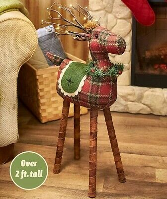 Lighted Plaid Reindeer Christmas Rustic Country Holiday Home Decor